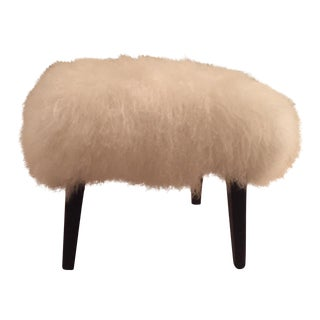 White Mongolian Fur Bench