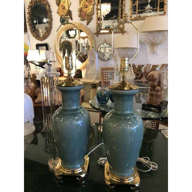 Vintage Hollywood Regency Pagoda Teal Green Crackle Glaze & Brass Table Lamps -A Pair For Sale - Image 12 of 13