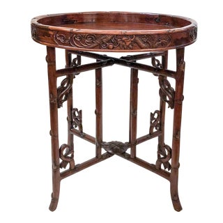 Antique English Carved Teakwood Tray with Stand, Handsome Grain and Color, Circa 1880 For Sale