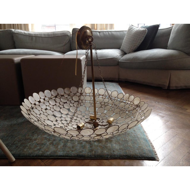 Capiz Shell & Brass Bowl Chandelier - Image 2 of 5