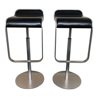 Modern LaPalma Black Leather and Metal Counter Stools – a Pair For Sale