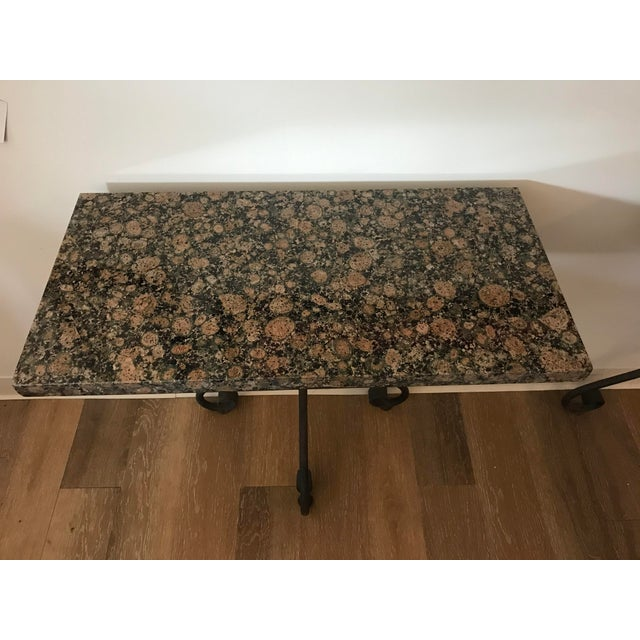 1960s Vintage Granite Top Console Tables - a Pair For Sale - Image 5 of 6