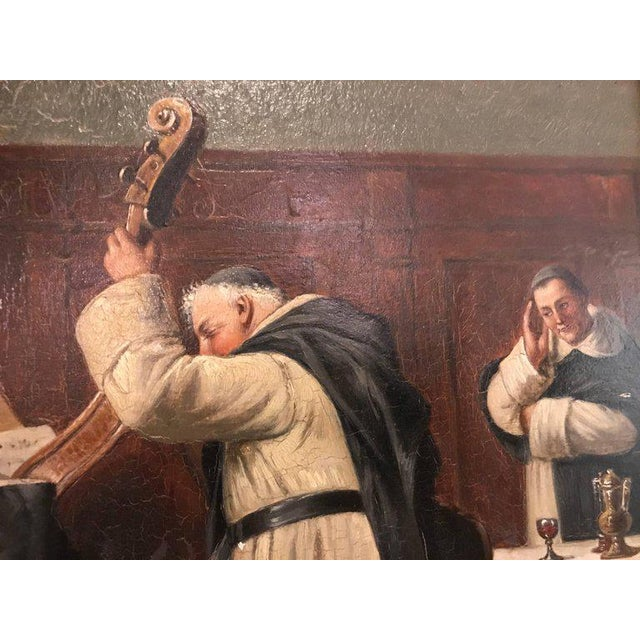 American Classical A Late 19th Early 20th Century Oil Painting Of A Group Of Monks On Board For Sale - Image 3 of 12