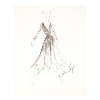 Gibson Bayh Fashion Illustration in Gouache, 1950s Circa 1950 For Sale