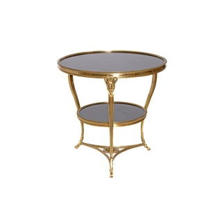 Louis XVI Style Gilt Bronze and Black Marble French Gueridon For Sale