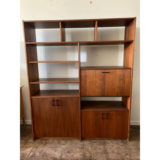 Mid-Century Modern Mid-Century Walnut Shelving Unit with Desk For Sale - Image 3 of 9