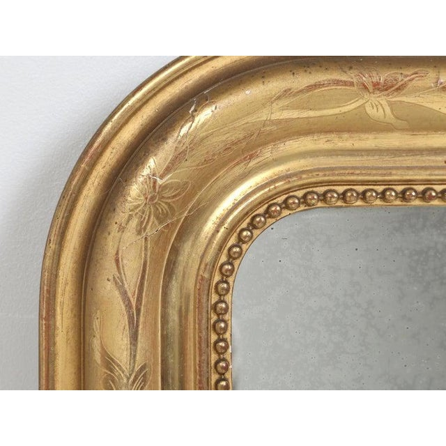 Late 19th Century Antique French Louis Philippe Mirror Original Gilding For Sale - Image 5 of 12