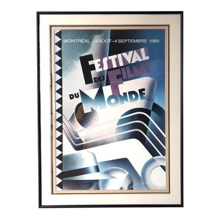 1989 Original Festival Des Films Du Monde Vintage Framed Poster For Sale