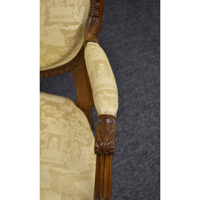 Wood 19th Century French Louis XVI Style Carved Chinoiseries Canape Settee For Sale - Image 7 of 12