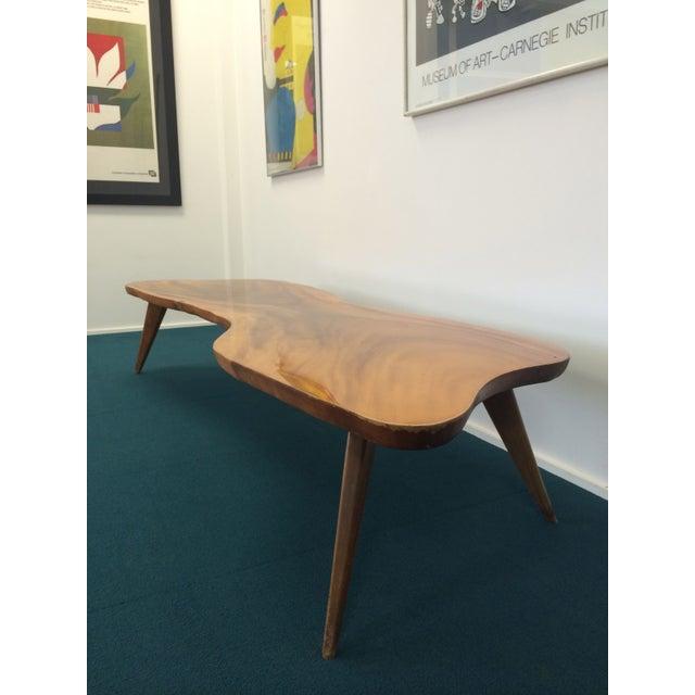 Large Vintage Monkey Pod Wood Slab Coffee Table - Image 4 of 7