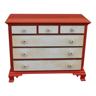 Mid Century Modern Orange & White Lacquer 6 Drawer Dresser