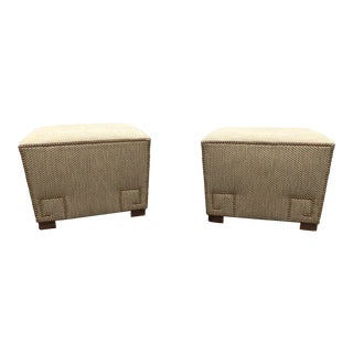 Upholstered Ottomans With Nail Heads - a Pair For Sale