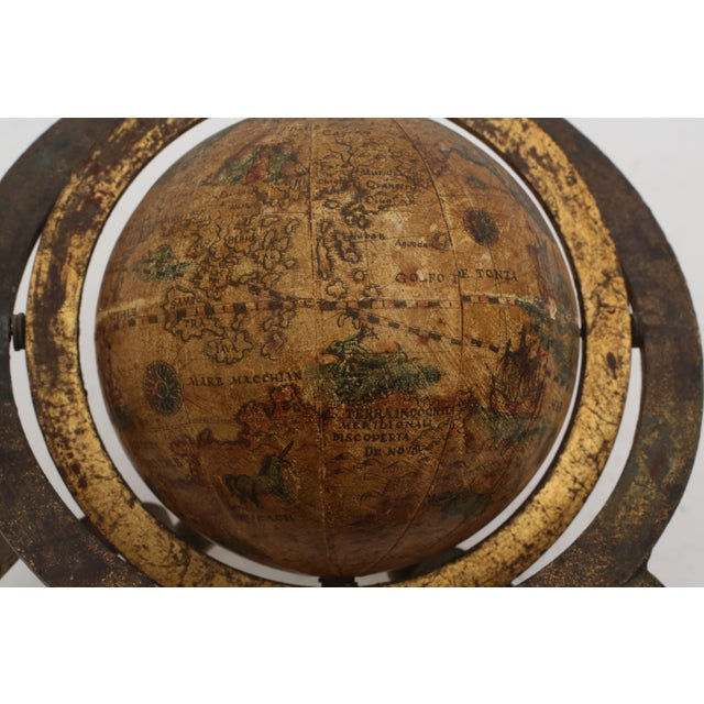 Italian Mini Old World Globe with Brass stand For Sale In Los Angeles - Image 6 of 10