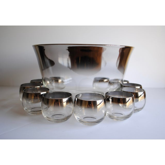 Mid-Century Silver Fade Punch Bowl & Glasses - Image 2 of 5