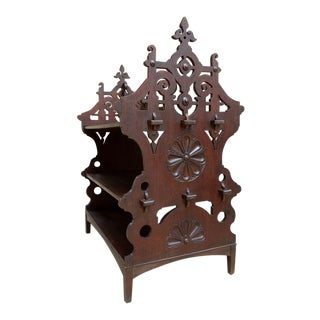 19th Century French Carved Oak 3 Tier Serving Stand Table Patisserie Bookcase Breton For Sale