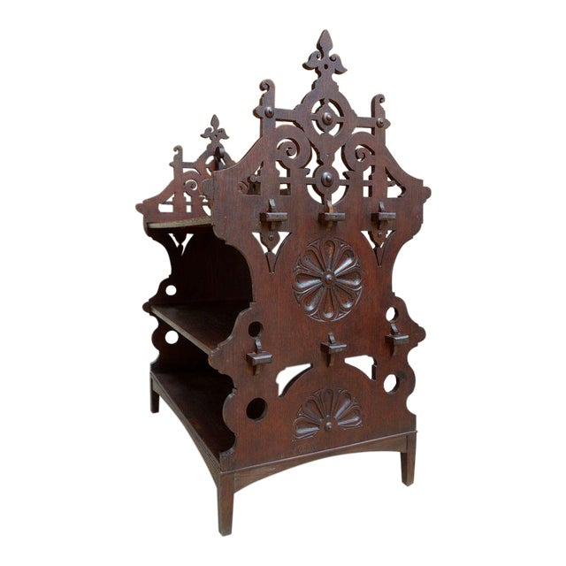 Antique French Country Gothic Carved Oak Pastry Stand/Kitchen Island