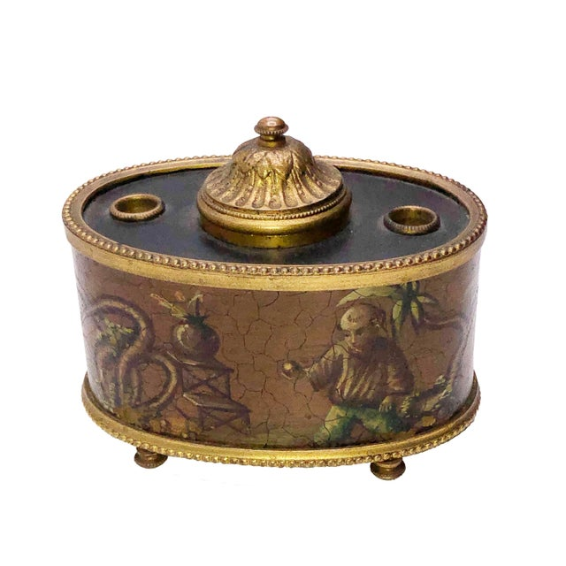 Chinoiserie Antique French Chinoiserie Ink Well For Sale - Image 3 of 10
