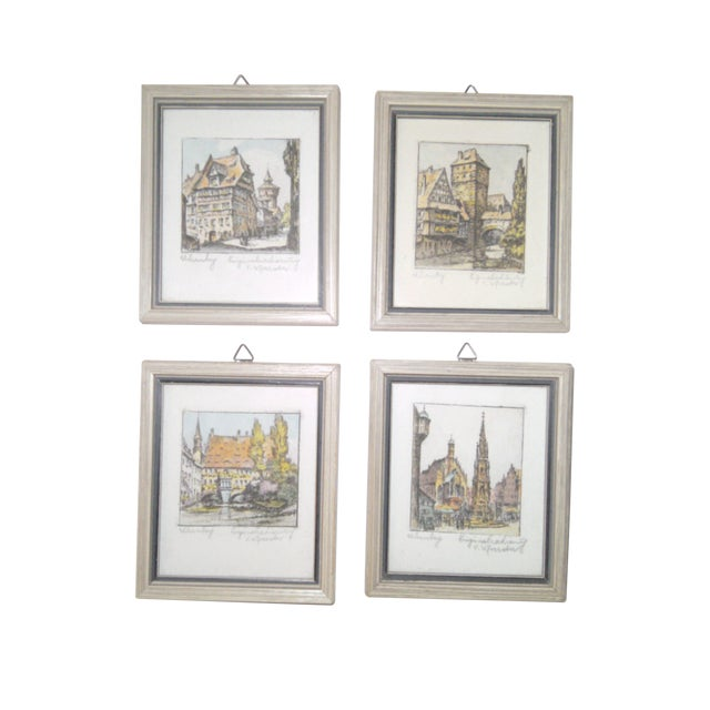 Vintage Small German Colored Etchings - Set of 4 - Image 1 of 10
