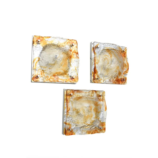 Mid-Century Modern Set of 6 Italian Murano Mazzega Sculptural Glass Wall Sconces For Sale - Image 3 of 7