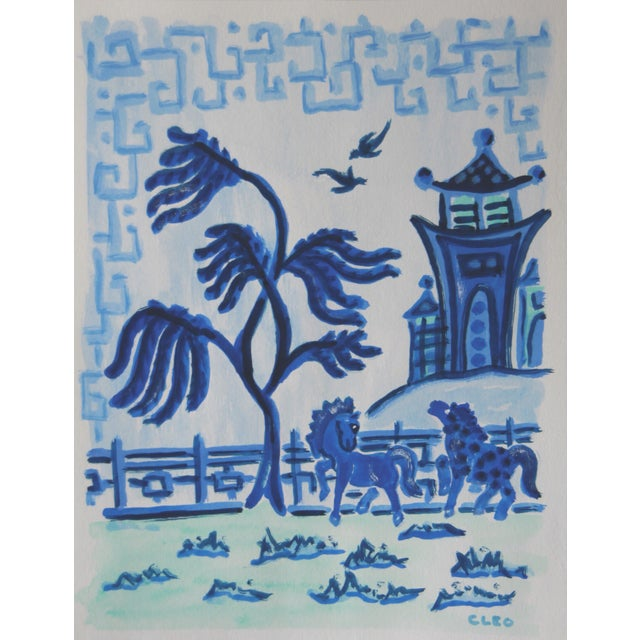 Abstract Chinoiserie Landscape With Horses Painting by Cleo For Sale - Image 3 of 3