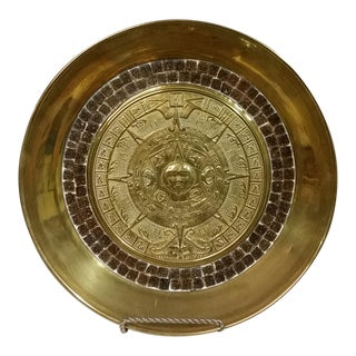 1970s Primitive Brass & Mosaic Tile Aztec Calendar Hanging Plate For Sale