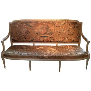 Museum Quality Original Louis XVI Tapestry and Painted Canape Sofa For Sale