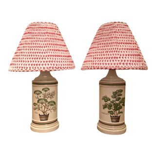 Potted Herbs Porcelain Lamps With New Pleated Printed Shades - a Pair For Sale
