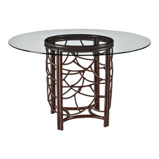 Cinnamon Dot Dining Table Base With Glass Top For Sale