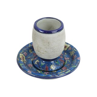 French Cafe Flowered Ceramic Match Striker For Sale