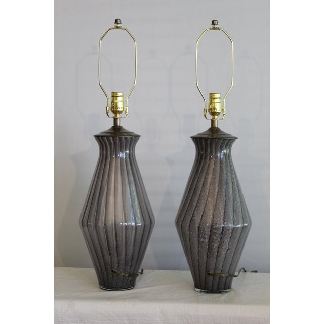 Vintage Modern Tapered Striped Murano Table Lamps - a Pair For Sale - Image 9 of 10