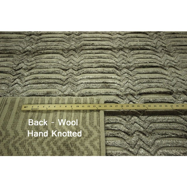 "Wool & Silk Pile Gray Moroccan Rug - 7'4"" x 8'2"" - Image 7 of 10"