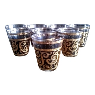 1950s Black & 22k Gold Culver Rocks Glasses - Set of 8 For Sale