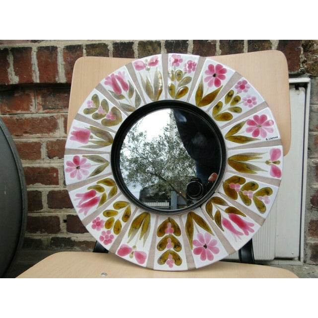 Glass 1960s Roger Capron Round Mirror For Sale - Image 7 of 7