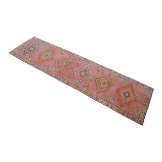 Hand-Knotted Turkish Kurdish Runner Rug. Tribal Low Pile Faded Runner 2′12″ × 10′10″ For Sale