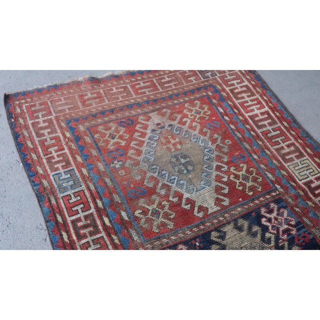"Islamic Antique Distressed Caucasian Kazak - 3'9""x7'6"" For Sale - Image 3 of 9"
