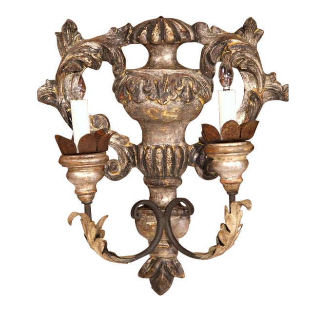 Italian Carved & Metal Two-Light Sconces - A Pair For Sale