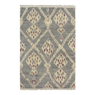 Moroccan Arya Connie Gray & Ivory Wool Rug - 3'11 X 6' For Sale