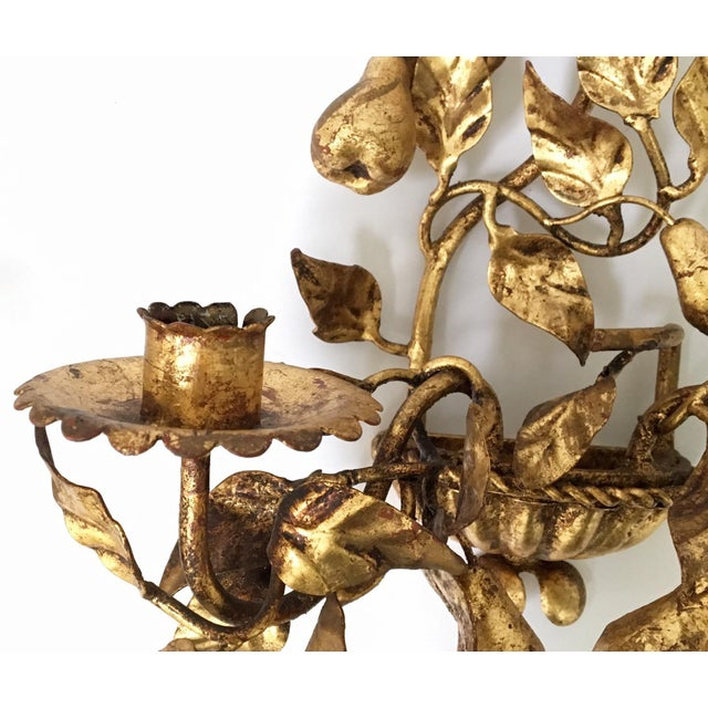 Italian Gold Gilt Tole Sconce Candle Holders- a Pair - Image 6 of 8