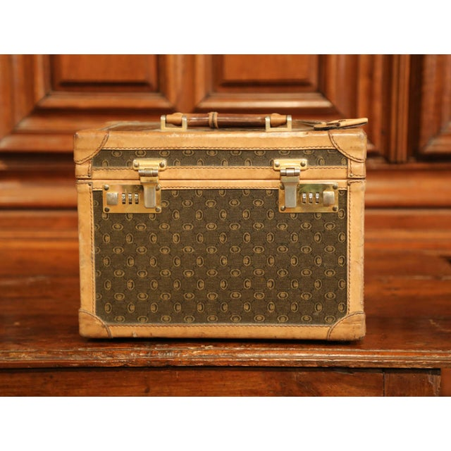 French 19th Century French Leather Toiletry Box With Decorative Trim and Brass Hardware For Sale - Image 3 of 13