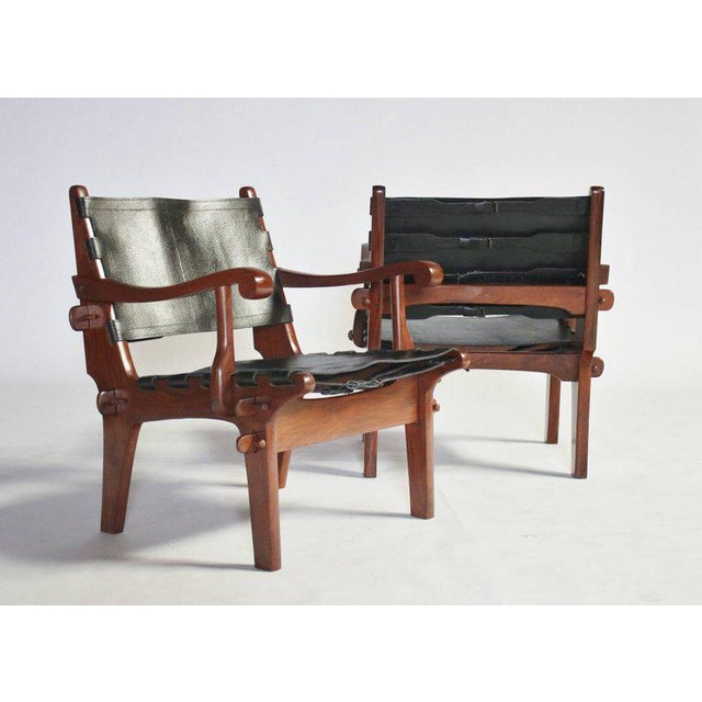 1970s Pair of Angel Pazmino Rosewood and Leather Sling Armchairs - a Pair For Sale - Image 5 of 10