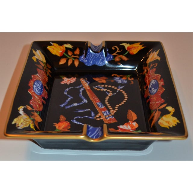 This is a lapis lazuli colored porcelain Catchall / Cigar Tray by Hermes of France. This tray makes a statement with...