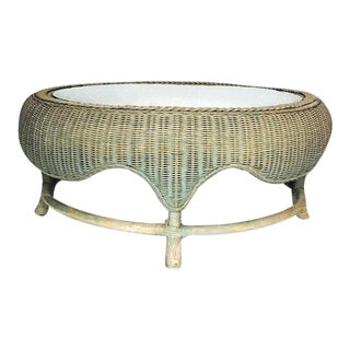 Mid Century Modern Round Sculpted Wicker Coffee Table 40 inch For Sale