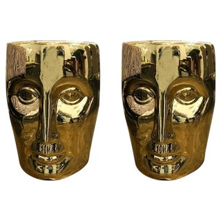 "Pr of Modernist Philippe Stark Lacquered Gold Rubbed & Fired Ceramic ""Face"" Stools / Side Tables"