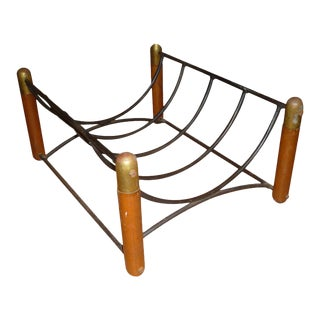 Danish Log Holder in Iron & Wood For Sale