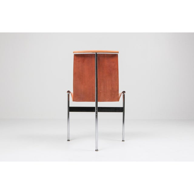 Katavolos, Littel, & Kelly Katavolos, Kelley and Littell T-Chairs in Original Cognac Leather - 1970s For Sale - Image 4 of 10