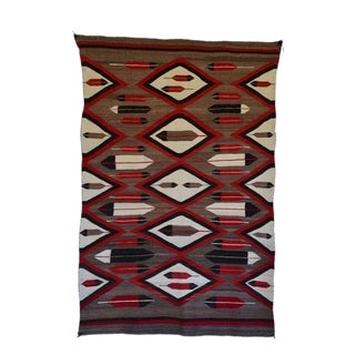 """1920s Native American Navajo Handwoven Rug-3'11'x6'1"""" For Sale"""