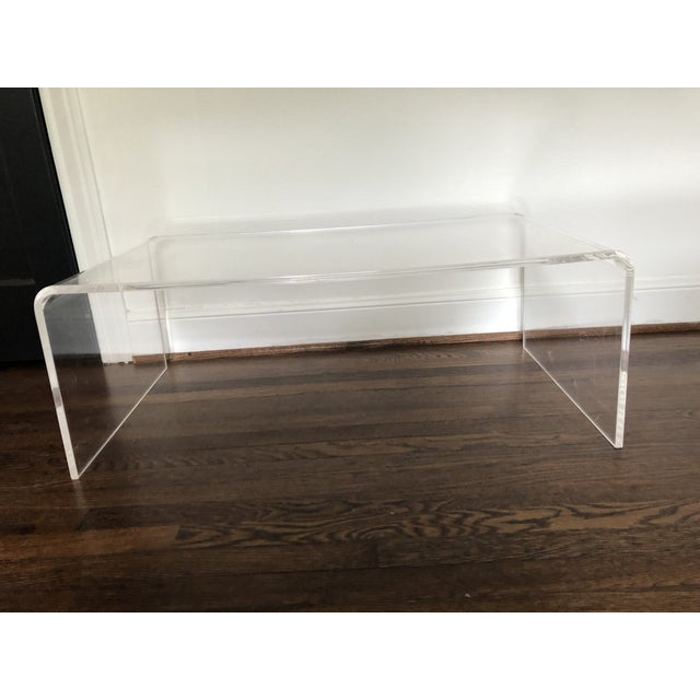 CB Lucite Waterfall Coffee Table Chairish - Cb2 clear coffee table