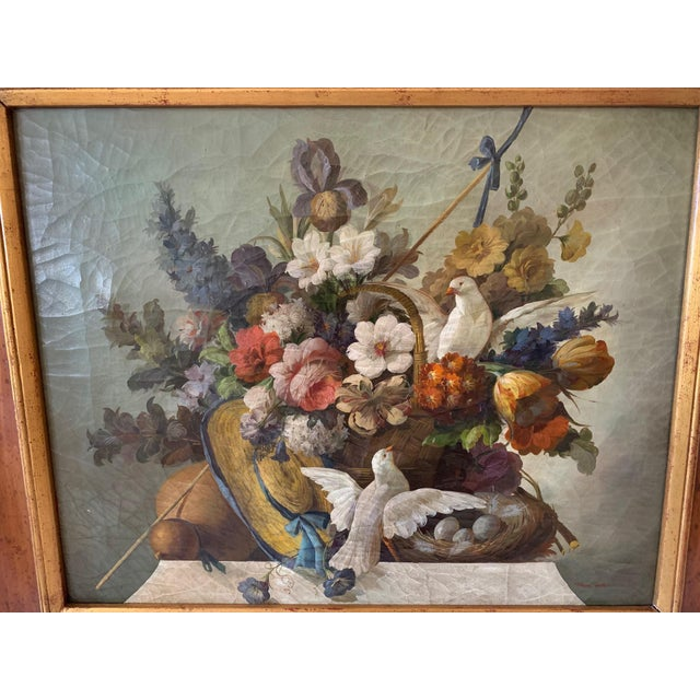 Still Life of Flower and Doves in Amazing Oak Frame For Sale - Image 4 of 13