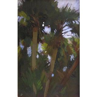 "Pöyhönen Framed Oil Painting, ""Palms at Night"", 11.75 X 16 In. Frame For Sale"