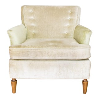 Mid Century Club Chair in Pale Green Velvet, Tufted Back Cushion and For Sale